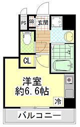 近鉄大阪線 近鉄八尾駅 徒歩5分の賃貸マンション 2階ワンルームの間取り