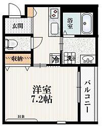 (仮称)高松町2丁目マンション 2階1Kの間取り