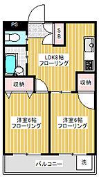 東京都世田谷区赤堤2丁目の賃貸マンションの間取り
