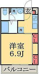 JR総武本線 東千葉駅 徒歩9分の賃貸マンション 1階1Kの間取り