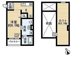 ソレイユ堺 2階ワンルームの間取り