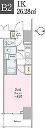 JR総武線 飯田橋駅 徒歩5分の賃貸マンション 8階1Kの間取り