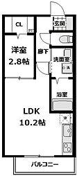 JR南武線 武蔵新城駅 徒歩5分の賃貸アパート 2階1LDKの間取り