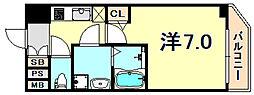 JR東海道・山陽本線 灘駅 徒歩5分の賃貸マンション 9階1Kの間取り