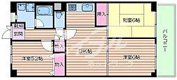 大阪府吹田市千里山松が丘の賃貸マンションの間取り