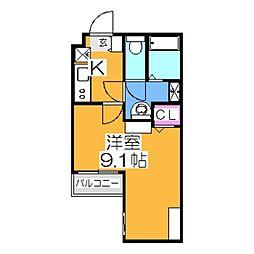 エヌエムキャラントサンクサウス 3階1Kの間取り