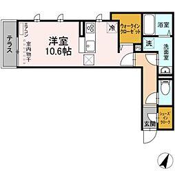 つくばエクスプレス 流山おおたかの森駅 徒歩7分の賃貸アパート 1階ワンルームの間取り
