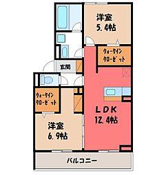 JR東北本線 宇都宮駅 バス21分 卸団地西下車 徒歩3分の賃貸アパート 3階2LDKの間取り