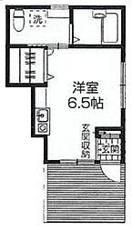 西武池袋線 東久留米駅 徒歩10分の賃貸アパート 1階ワンルームの間取り