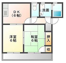 愛知県豊川市上野2丁目の賃貸アパートの間取り