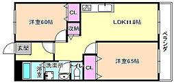 レオハイム東山[5階]の間取り