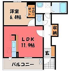 栃木県宇都宮市台新田1丁目の賃貸アパートの間取り