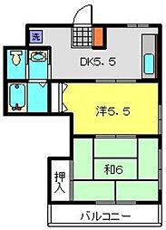 レジデンス京町 3階2DKの間取り