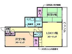 大阪府箕面市半町2丁目の賃貸アパートの間取り