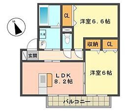 愛知県日進市藤塚5丁目の賃貸アパートの間取り