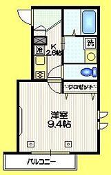 JR山手線 代々木駅 徒歩4分の賃貸マンション 2階1Kの間取り