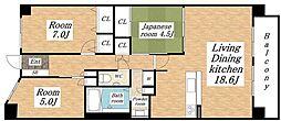 大阪府大阪市平野区平野元町の賃貸マンションの間取り