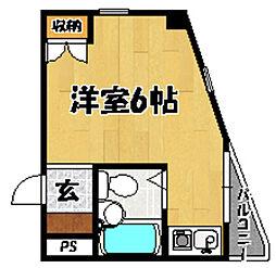 阪急京都本線 上新庄駅 徒歩9分の賃貸マンション 3階1Kの間取り