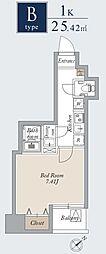 東京メトロ日比谷線 入谷駅 徒歩1分の賃貸マンション 6階1Kの間取り