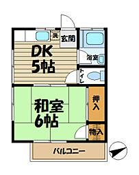 北鎌倉グリーンハイツB[206号室]の間取り