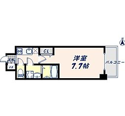 JR大阪環状線 寺田町駅 徒歩8分の賃貸マンション 8階1Kの間取り