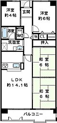 南海高野線 金剛駅 徒歩5分の賃貸マンション 2階4LDKの間取り