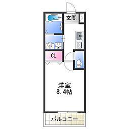 ドリーム フジ 桜川 1階1Kの間取り