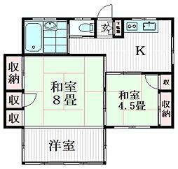 下目黒5丁目貸家 1号室 1階3Kの間取り