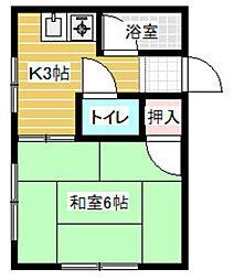 江上アパート[201号室]の間取り