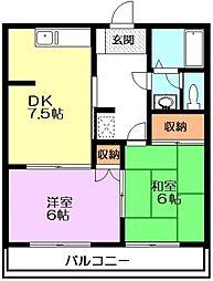 埼玉県新座市東1丁目の賃貸アパートの間取り
