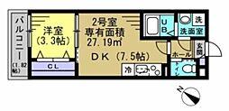 AJ幕張本郷NorthII 3階1DKの間取り