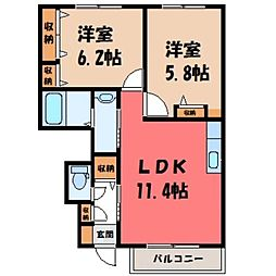栃木県小山市大字雨ケ谷新田の賃貸アパートの間取り