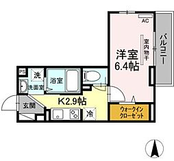 OKUE II 2階1Kの間取り
