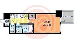 Osaka Metro谷町線 谷町九丁目駅 徒歩1分の賃貸マンション 15階1Kの間取り