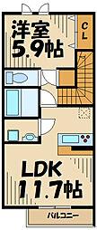 Maison en bois(メゾンボワ) 3階1LDKの間取り