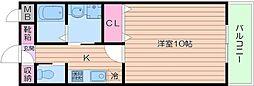 Osaka Metro御堂筋線 天王寺駅 徒歩15分の賃貸マンション 2階1Kの間取り