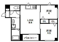 北海道札幌市中央区北二条西13丁目の賃貸マンションの間取り