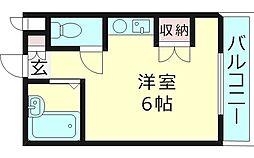 エクセル高殿 3階ワンルームの間取り