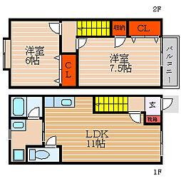 [テラスハウス] 滋賀県彦根市小泉町 の賃貸【/】の間取り
