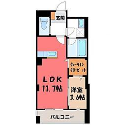 JR東北本線 宇都宮駅 徒歩16分の賃貸マンション 7階1SKの間取り