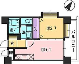 コンダクト福岡東[728号室]の間取り