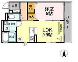 JR横須賀線 新川崎駅 徒歩16分の賃貸アパート 3階1LDKの間取り