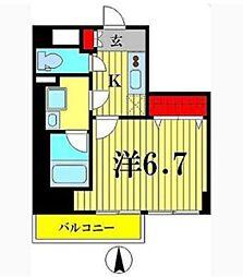 シンフォニー錦糸町 2階1Kの間取り