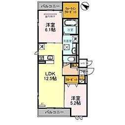 南海線 泉大津駅 徒歩14分の賃貸アパート 2階2LDKの間取り
