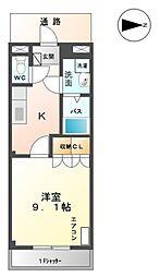 愛知県豊橋市新栄町字東小向の賃貸アパートの間取り