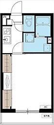JR常磐線 柏駅 徒歩13分の賃貸マンション 2階1Kの間取り