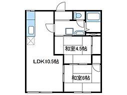 神奈川県厚木市妻田南2丁目の賃貸アパートの間取り