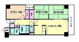 ファミーユ西梅田[8階]の間取り