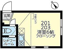 JR横須賀線 新川崎駅 徒歩12分の賃貸アパート 2階ワンルームの間取り