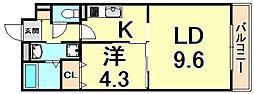 阪急神戸本線 西宮北口駅 徒歩15分の賃貸マンション 5階1LDKの間取り
